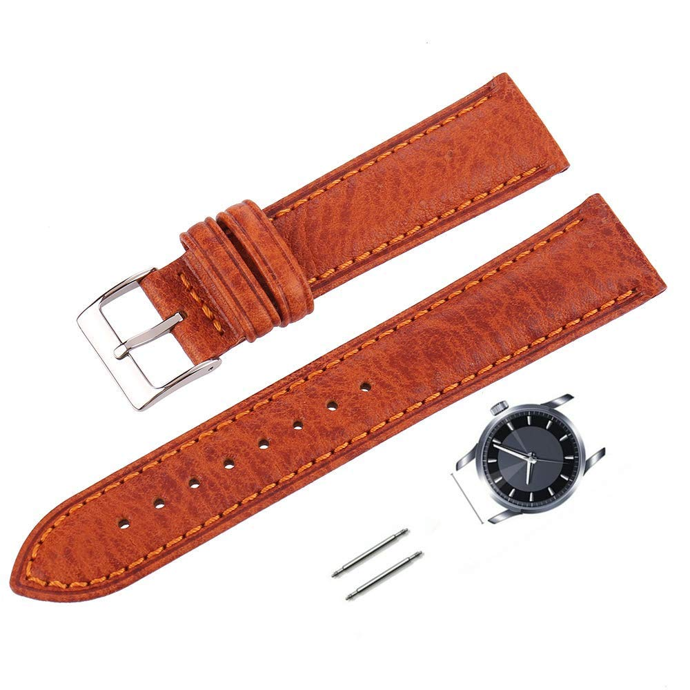 XIUMEI 20mm Genuine Leather Watch Bands Crazy Horse Oil Wax Leather Watch Straps Replacement watchbands-Orange by xiumei
