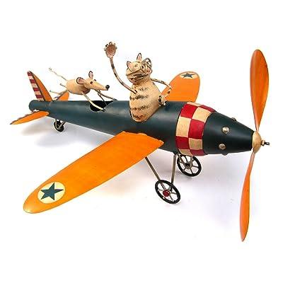Cat Aviator and Mouse Whirligig : Wind Sculptures : Garden & Outdoor