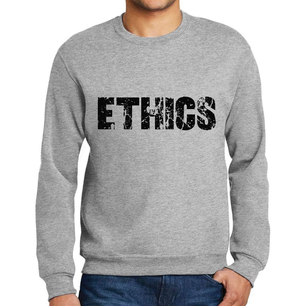Ultrabasic Men/'s Printed Graphic Sweatshirt Popular Words Ethics Grey Marl