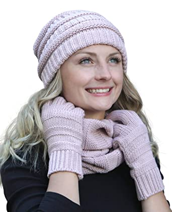 57347ab497a18f Hilltop Winter Set aus Loop-Schal, Strickmütze und Handschuhen/Beanie mit  Öffnung für