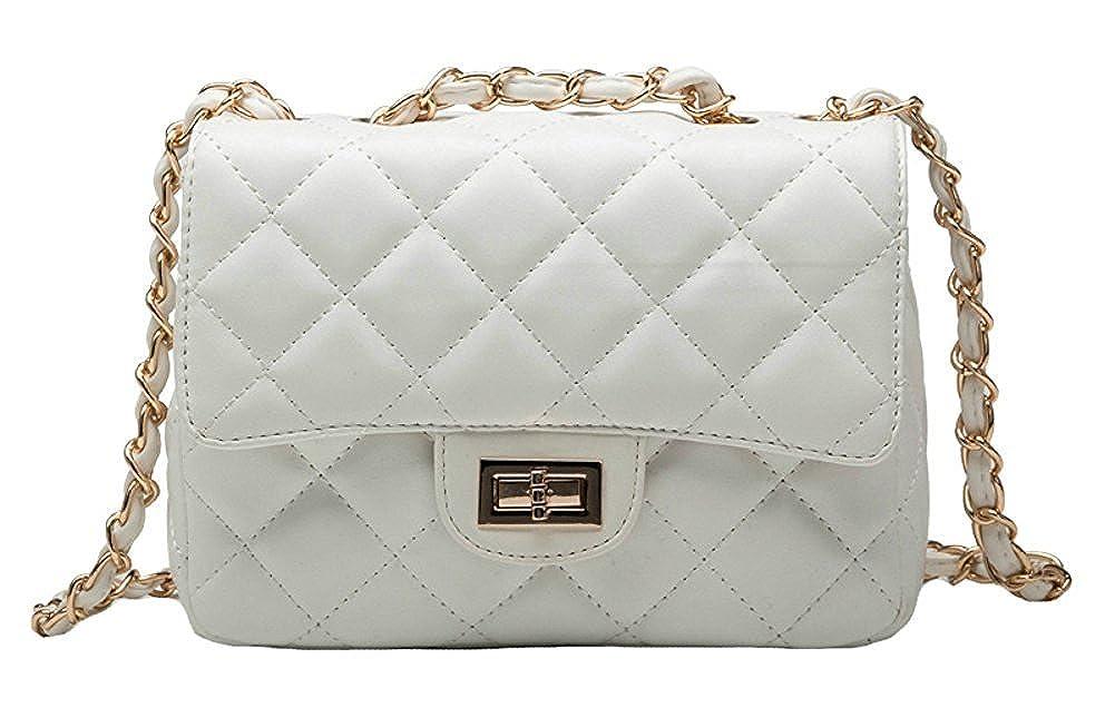 White Jineams Women's Fashion Shoulder Bag Quilted Chain Messenger Bag Women Designer Bag