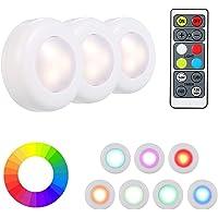 Luz do armário, Romacci LED RGB sob o gabinete Lâmpada Puck Light 3 com controle remoto Brilho ajustável Dimmable Timing…