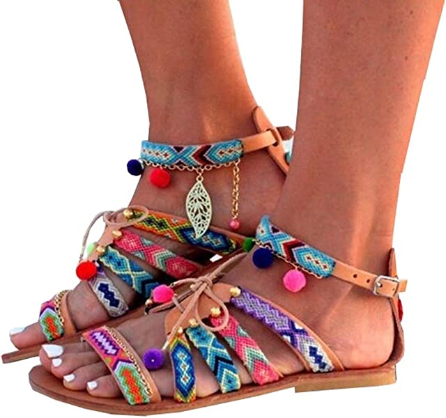 9ce40576d Caddy Wolfclaw Women Multicolor Bohemia Embroidery Lace up Flats Gladiator  Sandal Pom-Pom Sandals Flip
