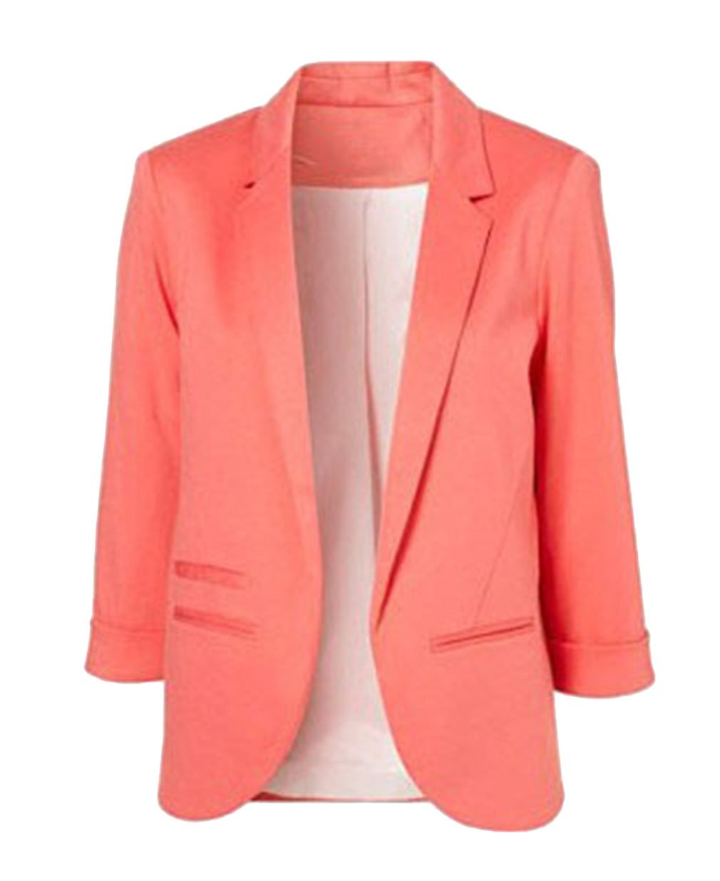 Just Model Women's Boyfriend Ponte Rolled Sleeves Blazer Large, Pink