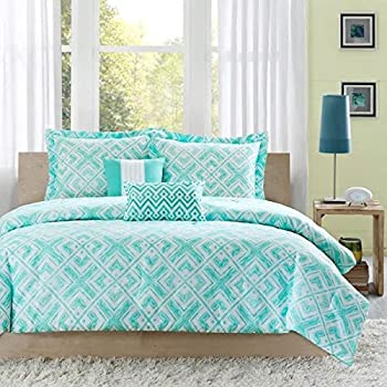 Turquoise blue aqua girls full queen comforter set 4 piece bed in a bag home - Cute teenage girl bedding sets ...