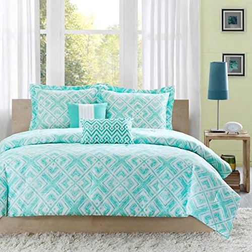 Teen Girls Natalie Teal 5Pc Comforter Set Bedding Full/Queen Cute PB Vogue Bedspread Perfect For College Teenager Room Dorm Or Adult Bedset. Fun Fresh Vibrant Elegant Fashion Pretty Smart Home (Quilts For Cute Beds)