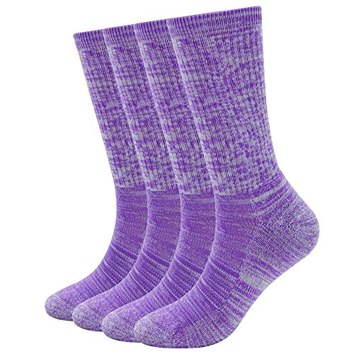 - EnerWear 4 Pack Women's Merino Wool Outdoor Hiking Trail Crew Sock (US Shoe Size 4-10½, Fuchsia Stripe)