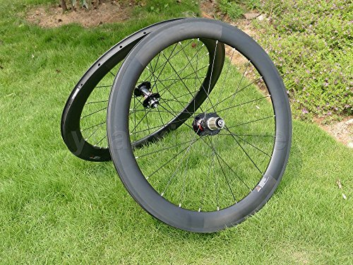 yuanxingbike Full Carbon UD Glossy Road Bike Clincher Wheel Rim 60mm Basalt Brake Side Width 25mm Toray Carbon Wheelset for Shimano 8/9/10/11s
