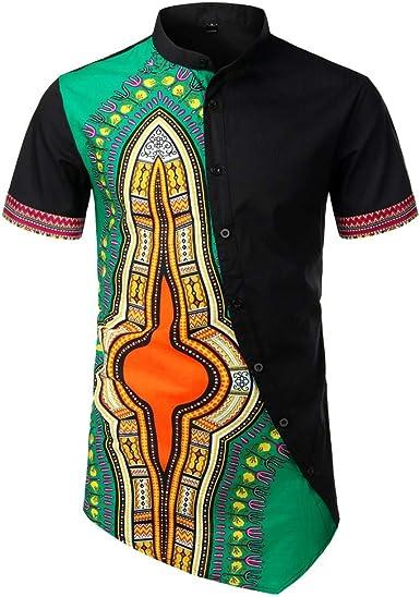 YEBIRAL Polos Manga Corta Hombre, Verano Patchwork Estilo Nacional Africano con Botones Túnica Tops Pullover Camisetas Hombre Basicas Blusa Camisas: Amazon.es: Ropa y accesorios
