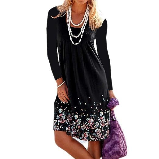 9e6edf1359 Ulanda Women s Casual Summer Long Sleeve Floral Printed Knee Length Pleated  Sun Dresses Black
