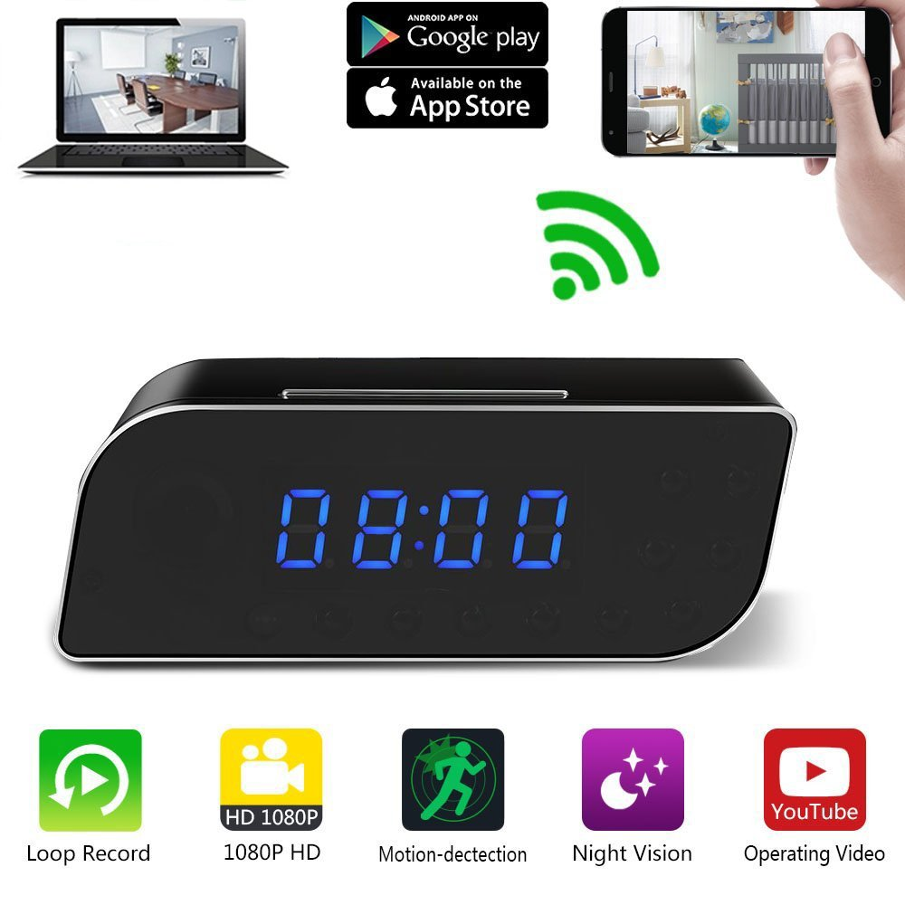 WiFi Hidden Spy Camera Clock 12 Hour System, Full HD 1080P Wireless Camera with Motion Detection, Night Vision, Realtime Video, Covert Nanny Cam for Home Office Security(Upgraded Version) M3M