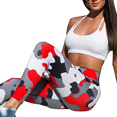 15633af2cf Kanzd Women Pants Women Camouflage Yoga Running Pants Gym Workout Fitness  Clothes Sport Wear (Red