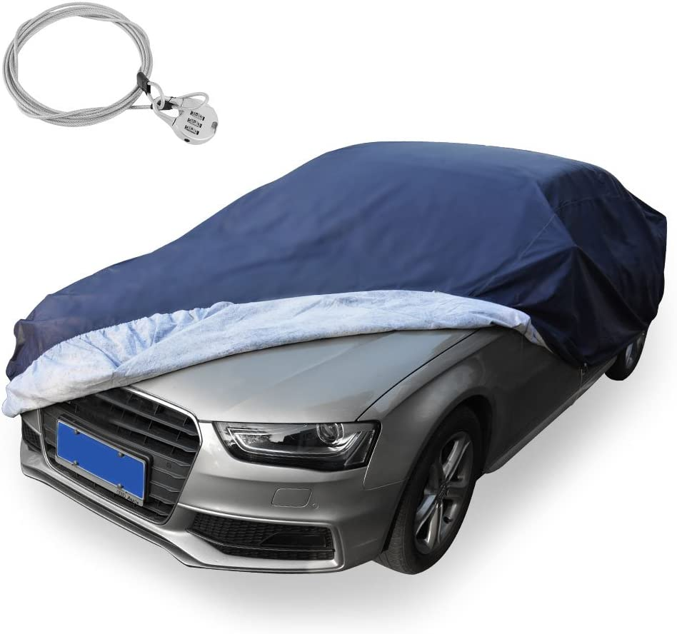 Outdoor Sun Uv Rain Protection Up to 175 Inch Fit Sedan Kayme Car Cover Waterproof All Weather with Lock and Zipper