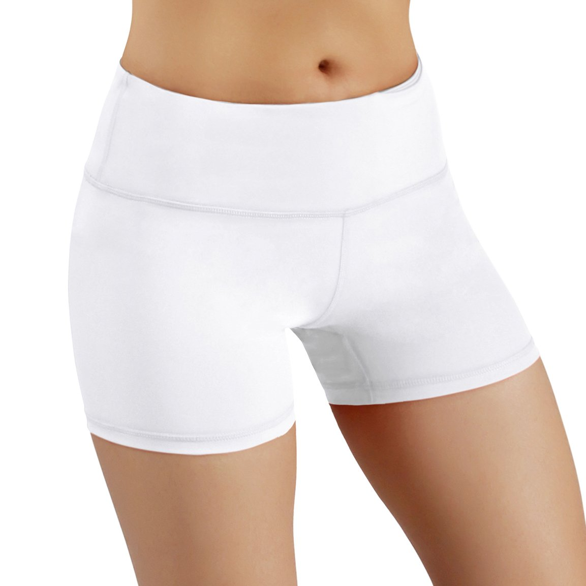 ODODOS Power Flex Yoga Shorts Women Tummy Control Workout Running Shorts Pants Yoga Shorts Hidden Pocket, White, Medium