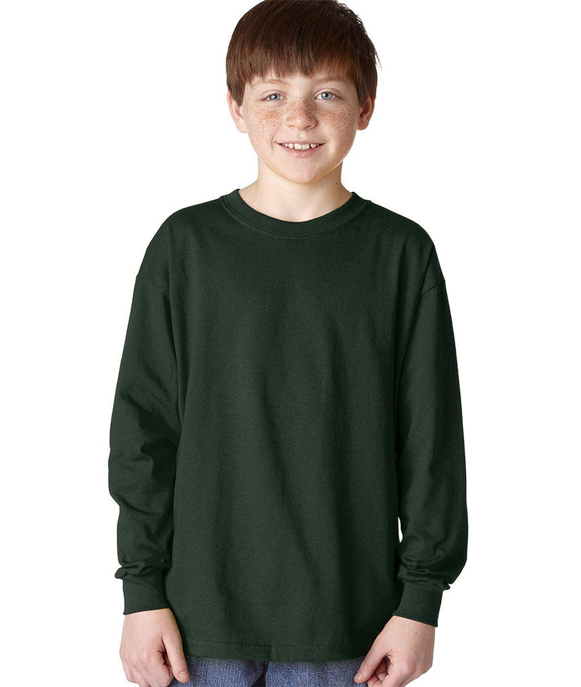 Heavy Cotton Long-Sleeve T-Shirt G540B -FOREST GRE -XL-12PK Gildan Boys 5.3 oz
