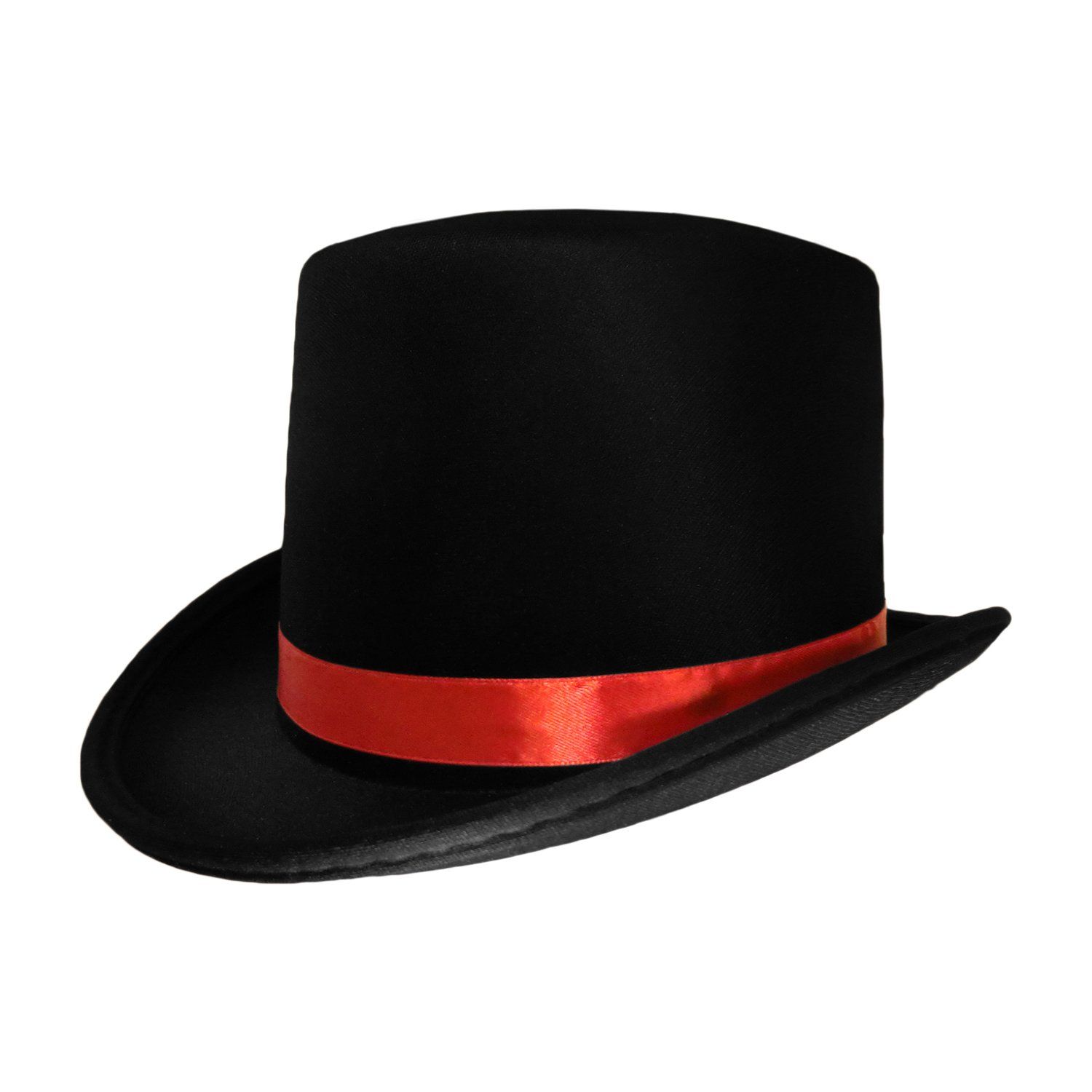 146624c5c24 Amazon.com  Black Top Hat with Red Band Caroler Snowman Ringmaster Mad  Hatter Baron Costume  Clothing
