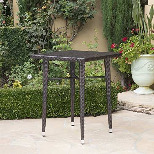 Dom Outdoor 32.5 Inch Square Multibrown Wicker Bar Table by Christopher Knight Home (Image #2)