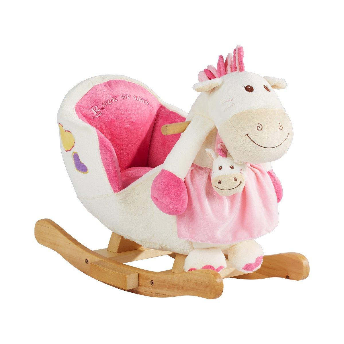 SOLINI Le poney à bascule avec une fonction sonore bébé, rose/blanc