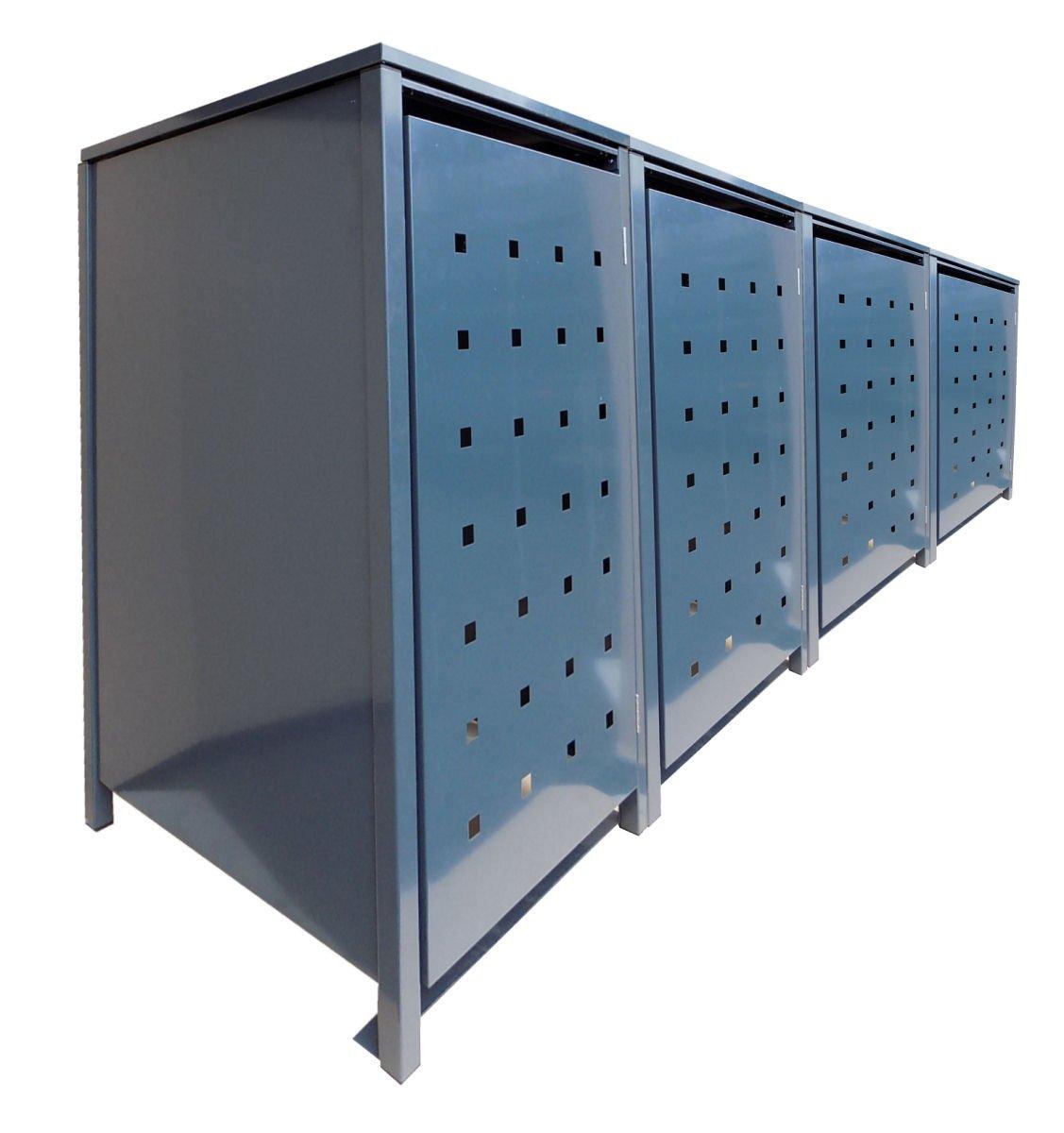 Mülltonnenboxen für 4 Tonnen je 240 Liter mit Klappdeckel in Grau mit Stanzung 7