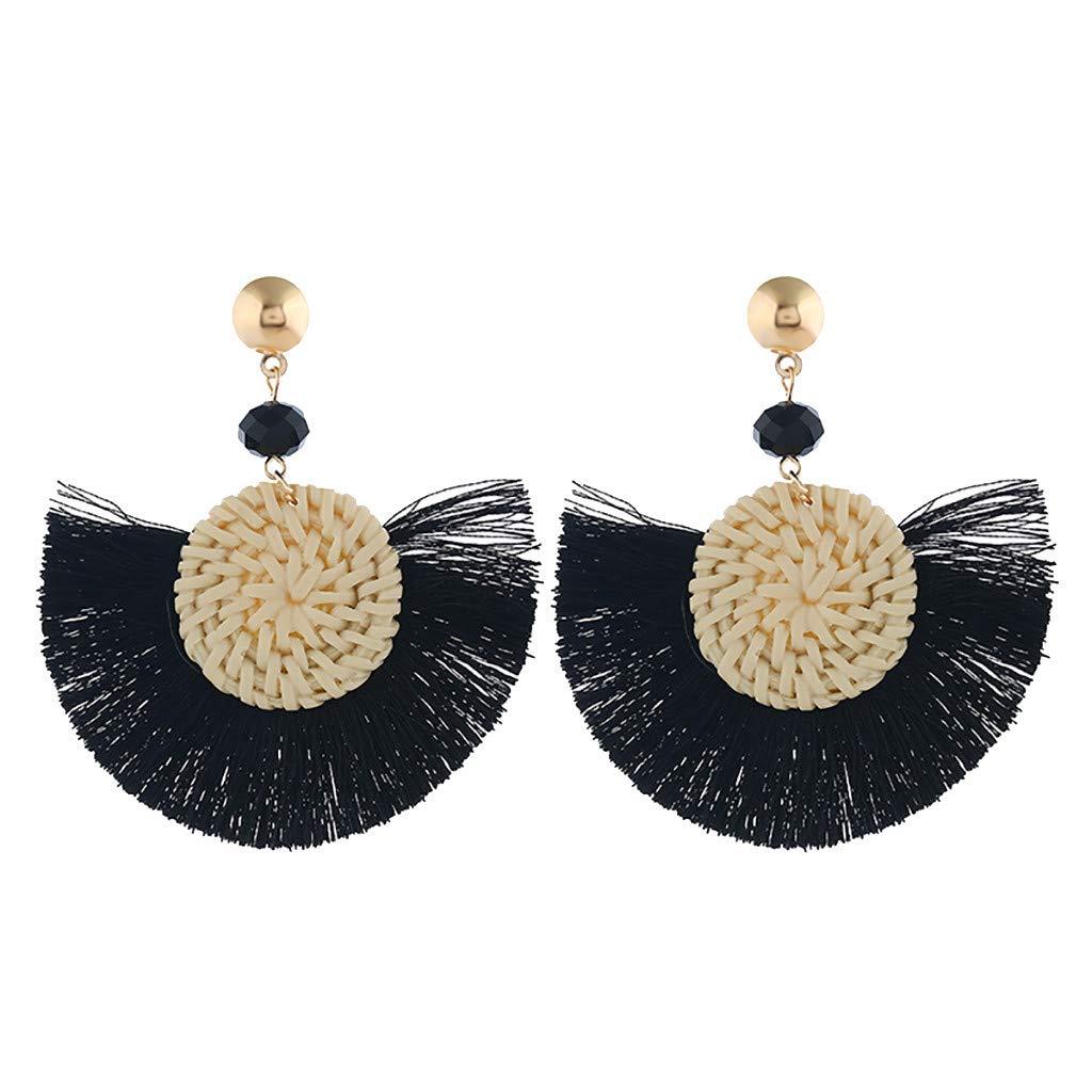 Bohemian Earrings Womens Big Circle Tassel Pearl Statement Drop Earrings Jewelry