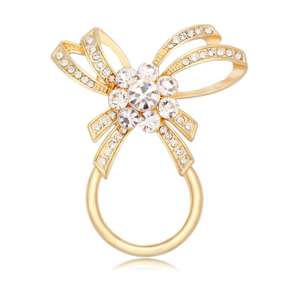 NOUMANDA Sweet Crystal Bow Magnetic Eyeglass Holder Brooch for Women Gift (gold)