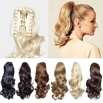 Amazon Com 12 Short Curly Claw Ponytail Hair Extension Cute Clip In On Ponytail With Claw Jaw Fluffy Hairpiece One Piece Big Wave Synthetic Heat Resistant Hair For Daily Use 12 Curly Ash Blonde