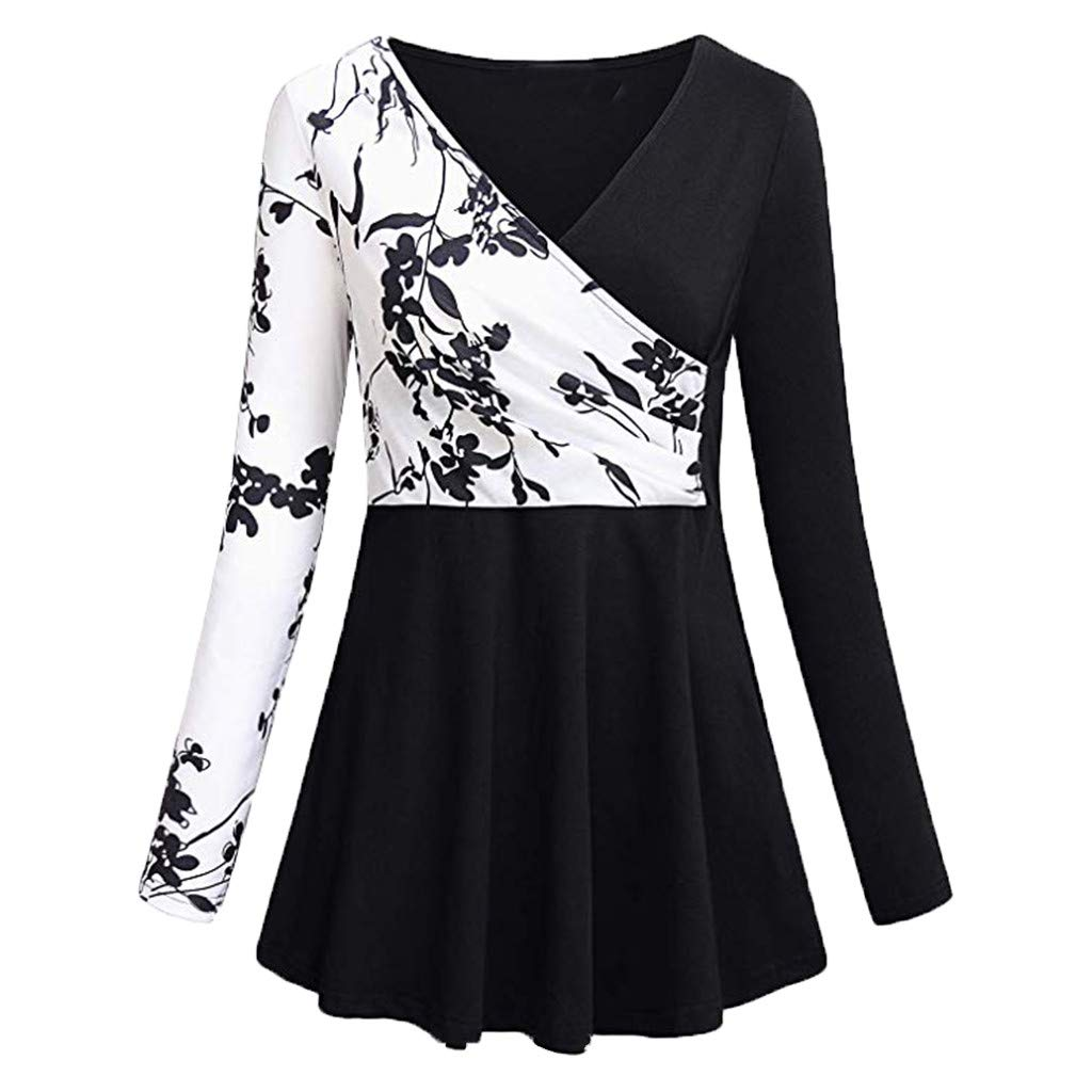 ▶HebeTop◄ Women's Short/Long Sleeve Color Block Flare Floral Printed Tunic Dress Black by ▶HebeTop◄➟HOT SALES