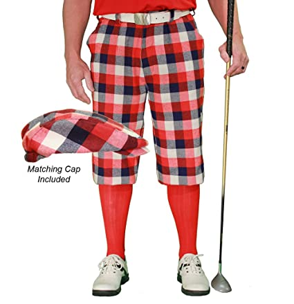 f3e1f35048d Amazon.com   Golf Knickers Plaid and Cap  Mens  Par 5  - Forfar ...