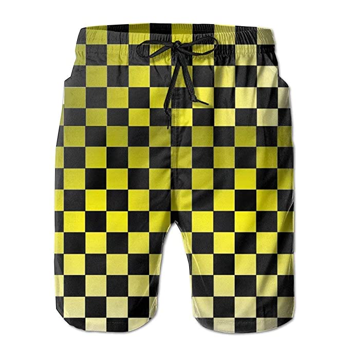 d16fda9406255 Auto Race Checkered Flag Men's Quick Dry Beach Board Shorts Summer Swim  Trunks for Father's Day
