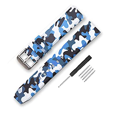 Narako Camouflage Silicone Rubber Watch Band 20mm 22mm 24mm, Blue, Size 24mm: Shoes