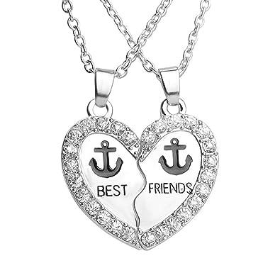 d8935bccc61 Rhinestone Best Friends Anchor Engraved Split Heart Friendship Necklace Set  of 2