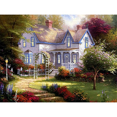 Springtime Oil Painting (Spring Villa Paint By Numbers Kits DIY Digital Oil Painting Coloring on Canvas Hand Painted Painting By Handmade 16 x 20 Inch with Brushes and Pigment)