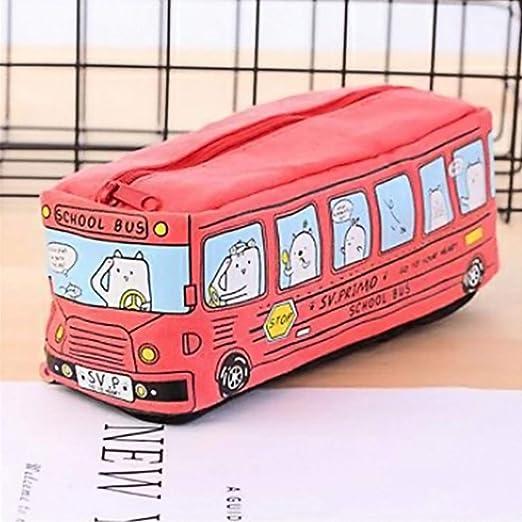Creative Pencil Case Estudiantes Niños Gatos School Bus ...
