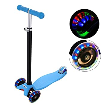 YAYA Azul Colorido Flash Rueda Patinete Skate: Amazon.es ...