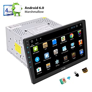 Quad Core Android 6.0 System Car Stereo with 10.1 '' Adjustable Viewing Touch Screen Double Din Head Unit In Dash GPS Navigation Radio Audio Player Support 1080P Video Bluetooth OBD2 WiFi Mirrorlink