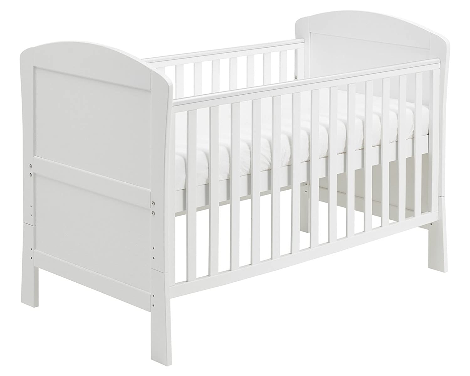 Babymore Aston Drop Side Cot Bed (White) with Foam Mattress 2610202M