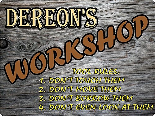 "Any and All Graphics Dereon Workshop Tool Rules Wood Effect Design décor Sign 8""x10"" Digitally Printed Wood Canvas."