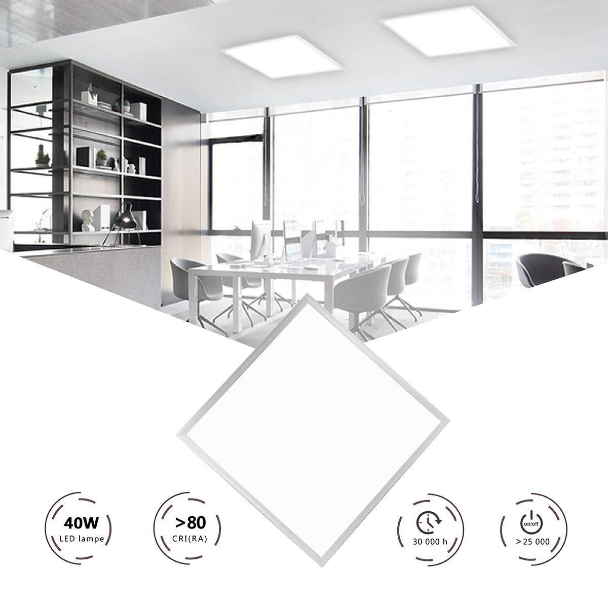 HOMEDEMO LED Panel Deckenleuchte 60x60cm Pendelleuchte Ultraslim 40W 3200lm Warmweiß 3000K Hängelampe mit Seilaufhängung und Trafo Weißrahmen