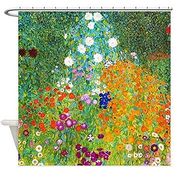 CafePress Gustav Klimt Flower Garden Decorative Fabric Shower Curtain