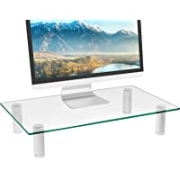 WALI Tempered Glass Monitor Riser Desktop Stand Height Adjustable Table Top for Flat Screen LCD LED TV, Laptop, Notebook…