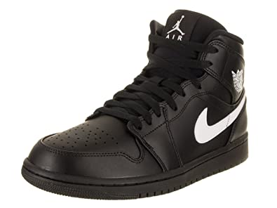 new style f9e7d e794e Jordan 554724-049: Men Jordan 1 Mid Black/White/Black Sneaker (Black/White,  8.5 D(M) Us Men)