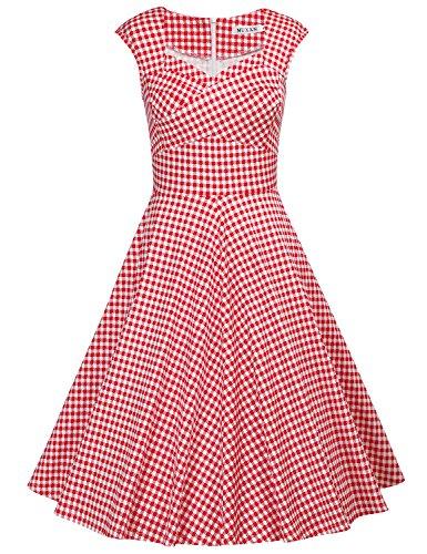 MUXXN Women's Low Cut Neck Strap Juniors Bridesmaid A Line Dress (Red Plaid L)