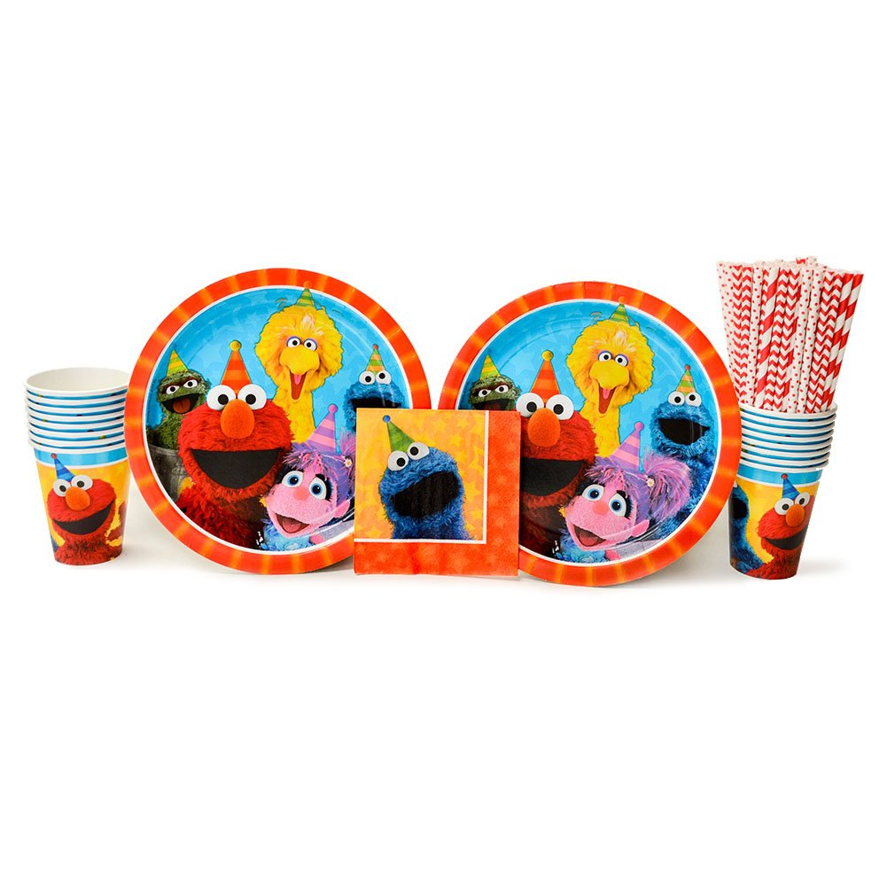 Sesame Street Party Supplies Pack for 16 Guests - Straws, Dinner Plates, Beverage Napkins, and Cups by Sesame Street