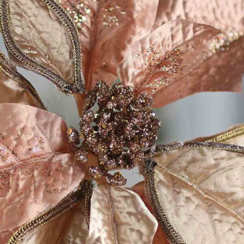 Factory Direct Craft Rose Gold and Champagne Sparkling Artificial SatinPoinsettia Stem for Displaying, Embellishing and (Winter Rose Poinsettia)