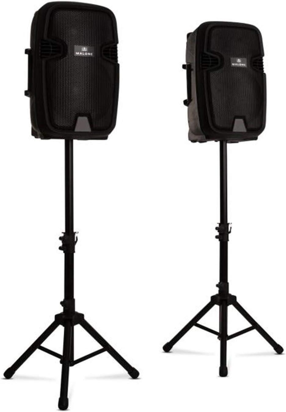 Malone Combo 1 - Juego de Altavoces de PA, Altavoces de Dos vías, Bluetooth, 30 cm, Activo y pasivo, 700 W, Incluye 2 Soportes para Altavoces, Negro