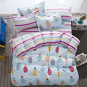 "KFZ Pineapple Bed Set [4pcs Full Size Bedding - 70"" x 86"" Duvet Cover, Without Comforter Insert, Flat Sheet, Pillow Cases] White, Tropical Design, Quality Microfiber, Soft Material for Skin-Friendly"