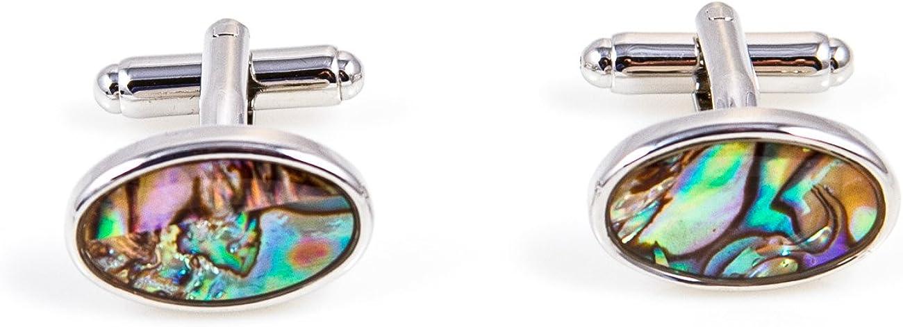 MRCUFF Abalone Oval Pair Cufflinks in a Presentation Gift Box & Polishing Cloth
