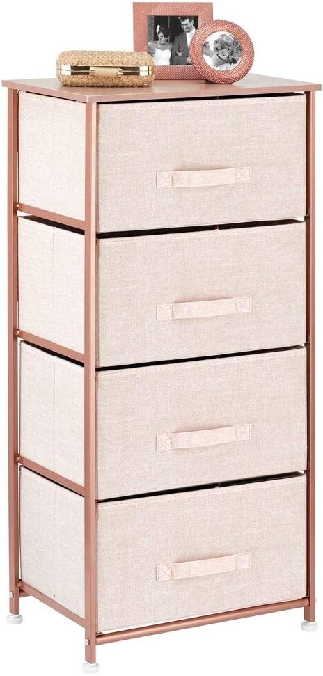 mDesign Vertical Dresser Storage Tower - Sturdy Steel Frame, Wood Top, Easy Pull Fabric Bins - Organizer Unit for Bedroom, Hallway, Entryway, Closets - Textured Print, 4 Drawers - Light Pink/Rose Gold