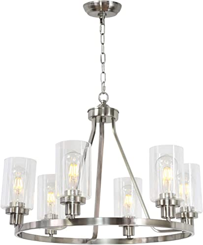 MELUCEE 6 Lights Round Chandelier Brushed Nickel Island Lighting Dining Room Lighting Fixtures Hanging Glass Pendant Light