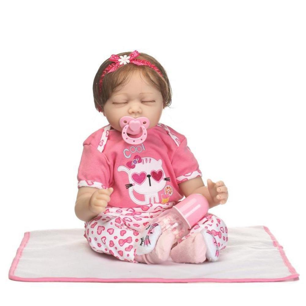 LLX Nicery Reborn Baby Doll Simulación Realista Bebés Cerrados Ojos Muñecas 22 Pulgadas 55 Cm Juguete Realista Regalo De Cumpleaños para Niños